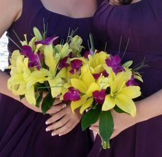Love the plum and yellow,also.  The yellow brings in a happiness to the dark plum, and the flowers are easily found in yellow!