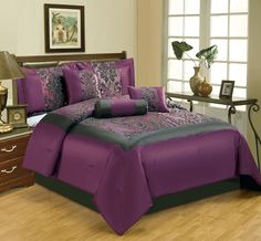 7 Piece Queen Salzburg Purple Flocked Comforter Set