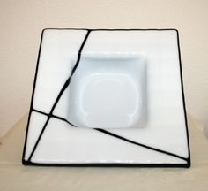 Fused glass bowl White square Black abstract by Glasspainter1, $42.00  Simple and clean.