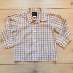 Great Guy White Blue & Tan Checkered Shirt