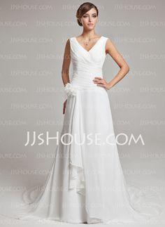 A-Line/Princess V-neck Court Train Chiffon Satin Wedding Dress With Ruffle Feather Flower