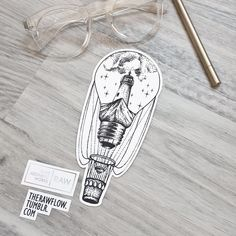 Discover our wonderful world with this tattoo design: a lightbulb balloon with mountain and lighthouse inside. Would be perfect on forearm, thigh, side areas; available on Skinque now!