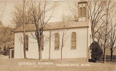 E68/ Triadelphia West Virginia RPPC Postcard c1910 Catholic Church Building Church Building, School Building, Photo Postcards, Vintage Postcards, Cathedral High School, Clinton Iowa, Old Churches, West Virginia, Catholic