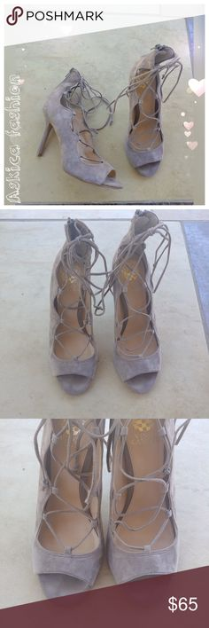 "Vince Camuto Sandria Peep Toe Ghillie Sandal Soft suede open toe sandal. Very good condition. - Open toe - Ghillie lace-up vamp - Back zip closure - Approx. 4"" heel - suede upper, manmade sole Vince Camuto Shoes Sandals"