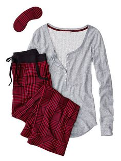 Victoria's Secret The Dreamer Henley Pajama-heather grey lurex/red glen plaid