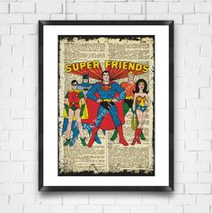 Super Friends Dictionary Art Print, Super Friends Poster, Childrens Decor, Comic Heroes Dictionary Page Art, Jewels of Kingwood, Made in USA - pinned by pin4etsy.com