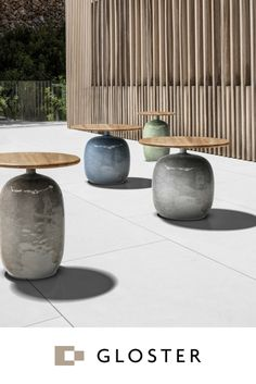 The beautifully crafted Blow collection by Gloster pairs subtle glazed ceramic bases with durable teak tabletops. The soft lines of these eye-catching cocktail tables will enhance any design aesthetic and work as well indoors as out.
