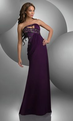 Unique Strapless Shimmer Dress BJ-59401-BJV $129 - this model looks like a cross between Beyoncé and Olivia Wilde.  Just sayin'.
