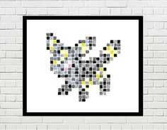 umbreon art, umbreon poster, pokemon art, umbreon print, pokemon print, game art, video game, eevee, eevee evolution, pokemon poster, pixel art, umbreon pixel art, pokemon by PixelDesignsUP