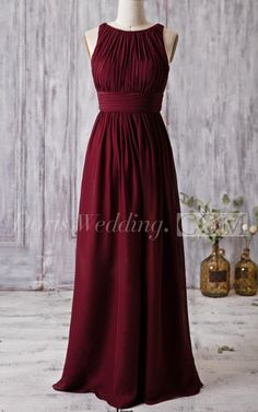 $80.50-Bateau Neck Sleeveless  Chiffon Long Burgundy Bridesmaid Dress 2016. http://www.doriswedding.com/bateau-sleeveless-pleated-a-line-chiffon-floor-length-dress-with-bandage-pET_102707.html. Free shipping on bridesmaid dresses at www.doriswedding.com. Shop the latest designer colors and designs for the best dress for your bridesmaids.  #DorisWedding.com.
