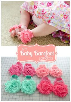 Adorable Barefoot sandals for babies! Use the chiffon flowers and fold over elastic. These make great baby shower gifts!