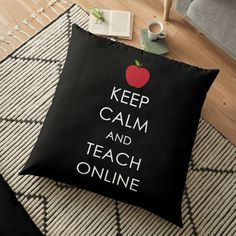"""This cute quote reads """"Keep Calm and Teach Online"""" will make teacher friends smile. Friends and family can wear this while they are making videos or lessons or social posts as part of being in school online. Great gift for friends, family and coworkers who take or teach classes online and participate in remote and distance learning. Click on the image to see this teacher gift idea on stickers, mugs, clothing and more. Teachers Day Gifts, Thank You Teacher Gifts, Friends Family, Gifts For Friends, School Volunteers, Volunteer Jobs, Teacher End Of Year, Teach Online, School Fundraisers"""