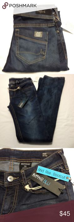 Buffalo Jeans NWT Buffalo Blu Faye Mid Rise Bootcut jeans size 26. Length 42. Inseam 32. Sanded and whiskered.97%Cotton 3%Spandex Buffalo Jeans Boot Cut