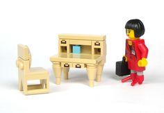 LEGO Express — Writing Desk (by mijasper) Lego City, Lego Office, Lego Furniture, Lego Boards, Lego Activities, Lego Construction, Lego Room, Cool Lego Creations, Lego Design