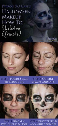 Patrón XO Cafe's Halloween Makeup How To: Skeleton (female) #halloween #makeup #skeleton #costumes