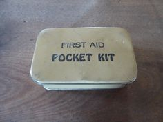 first aid pocket kit - tin box - contents, gauze, redi dressing, burn ointment, mercurochrome swab, ammonia inhalant, tincture metaphen by ChillyPumpkin on Etsy
