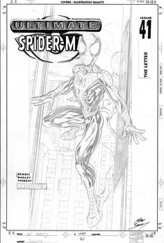 BAGLEY, MARK - Ultimate Spider-Man final cover art, full front shot of Spider-Man Media Type: Pencil Art Type: Cover Artists: Mark Bagley All Ultimate Spider-Man Published Jul 2003 by Marvel. Mark Bagley, Art Web, Story Arc, Artist Names, Types Of Art, Best Artist, White Art, Pencil Art, Drawing Reference