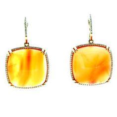 Square Cabochon Orange Carnelian Earrings