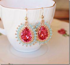 chibistar88 Swarovski crystal beaded bezel 18x13 rose pear shaped crystal pacific opal crystal gold earrings