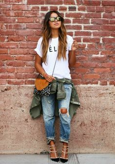 Street Scene Vintage: How to Wear: Boyfriend Jeans with simple tshirt with army green tied around the waist but with doc martens