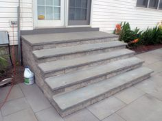 patio steps | Thermaled bluestone patio and steps, constructed