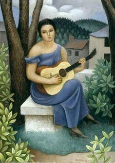 'jeune femme avec un guitare' de Jean Dominique Antony Metzinger (1883-1956, France)