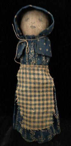 """Corn Cob Prairie Doll"" ~ Using a small Indian Corn Cob, some old cloth was…"