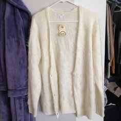 BP brand Cream Fuzzy Cardigan Nice fuzzy material and cream white color Sweaters Cardigans