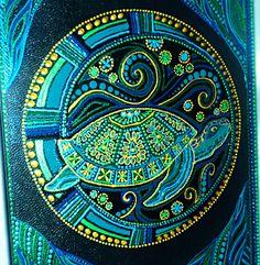 Sveteishen's Art. Ручная акриловая роспись Turtle Painting, Dot Art Painting, Mandala Painting, Mandala Art, Stone Painting, Colorful Drawings, Art Drawings, Kunst Der Aborigines, Sea Turtle Art