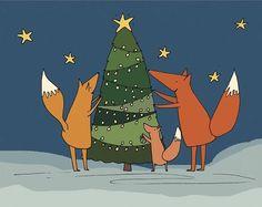 A little fox family hanging up the Christmas lights!  6 x Fox Christmas Cards  by #NellsOriginals on Etsy @Helen Hugh-Jones