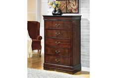 Stylish dark brown wooden five drawer chest with antique bronze colored handles