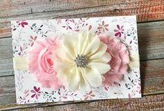 Pink & Ivory Headband/Baby Headband/Pink Headband/Baby Girl Headband/Infant Headband/Toddler Headband/Newborn Headband/Light Pink Headband by JuliaGraceDesigns1 on Etsy