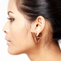 Fake Gauge Earrings  Wood Tribal Earrings Fake by NoHolesBarred, $9.00