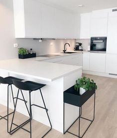 "Modern Kitchen Interior Modern Interior Inspiration ( ""Inspiration: So happy to share you ❤️ Love from ❤️ ______________…"" - Interior Modern, Modern Kitchen Interiors, Contemporary Kitchen Design, White Interiors, Modern White Kitchens, Kitchen White, Rustic Kitchen, Modern Design, Ikea Interior"