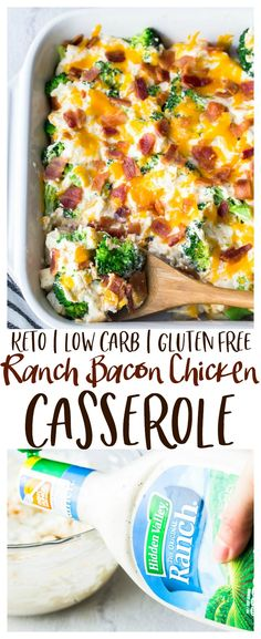 Ranch Bacon Chicken Casserole - an easy, super flavorful casserole recipe that s family friendly. Loaded with creamy Hidden Valley Ranch dressing and cheddar cheese, this casserole is also suitable for those ing low carb, keto, or gluten free diets. Poulet Keto, Diet Recipes, Healthy Recipes, Slimfast Recipes, Recipes Dinner, Smoothie Recipes, Diabetic Recipes, Low Carb Dinner Ideas, Cheeseburgers