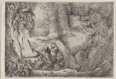Giovanni  Castiglione (1609-64).   Saints Peter and Paul in Tomb, c. 1645-50, Etching,  30.2 x 20.7 cm. Royal Collection Trust.