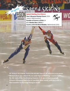 """Speed skating is one of 15 sports that will be contested at the 2018 Winter Olympics in PyeongChang, South Korea. Learn more about the 15 Olympic sports events and some Team USA """"Athletes to Watch"""" in """"A Kid's Guide to the 2018 Winter Games"""" for kids ages 9-12 (and their parents, too!) 2018 Winter Olympic Games, 2018 Winter Olympics, Winter Games, Olympic Idea, Olympic Sports, Theme Days, Figure Skating, Ice Skating, Team Usa"""