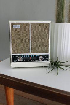 Vintage Olive & White Airline Radio