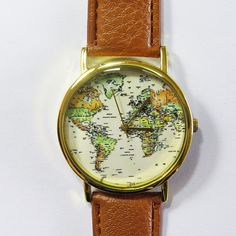 World Map Watch Globe watch Traveler Gift Leather by FreeForme