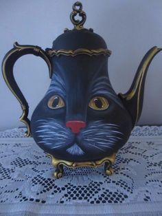 * OOAK* Hand painted* Silverplate Tea Pot*  Cat**