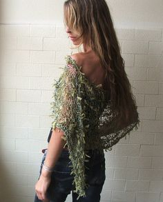 Green Poncho / Apple Green Ribbon loose knit Poncho Cape