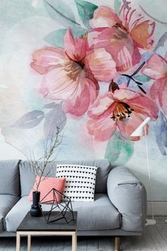 Pastel coloured living room with feature floral watercolor mural wallpaper. Watercolor Pattern, Floral Watercolor, Painting Wallpaper, Adhesive Wallpaper, Wallpaper Decor, Print Wallpaper, Painting On Wall, Living Room Wallpaper Accent Wall, Wallpaper Patterns