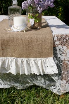 Burlap table runner by Littlewhiteboutique on Etsy, $22.00