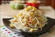 """양배추를 가장 맛있게 먹는 방법~땅콩 소스를 뿌린 """"양배추샐러드""""~ Brunch Cafe, Salads, Rice, Yummy Food, Cooking, Cafe Idea, Recipes, Food Food, Recipies"""