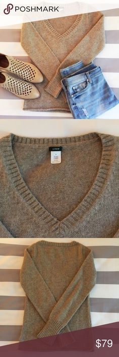 """J Crew Gold Knit Pullover Sweater Shimmery J Crew sweater in tan with gold thread. V-neck and slim fit. Excellent condition. Fits true to size. 15 1/5"""" across the chest and 24"""" from collar to hem. J. Crew Sweaters V-Necks"""