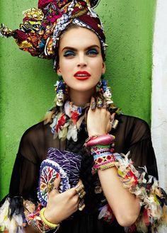 "editorial from Vogue Brasil ""Carmen Miranda Reloaded"""
