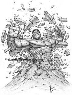 Keown HULK!  Pencil Illustration Comic Art
