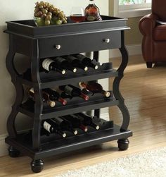 Cecilia Black Wine Rack 90018 - how spaced out are these bottles?? replicate shelving for my entertainment center update