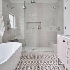Master Bathroom Shower, Bathroom Renos, Bathroom Tile Showers, Tile For Bathroom Floor, Best Bathroom Flooring, Master Bath Tile, White Bathroom Tiles, Attic Bathroom, Upstairs Bathrooms