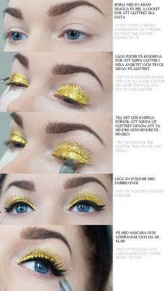 How to apply glitter as eyeshadow. Could be useful for before Friday night football games for us majorettes. (: